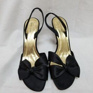 Kate Spade black satin bow heels size 9.